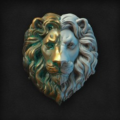 Download 3D model Lions Head relief, GrinNT