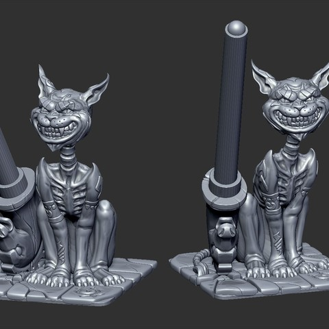 6356.jpg Download free STL file Cheshire Cat pen holder • 3D printable design, GrinNT