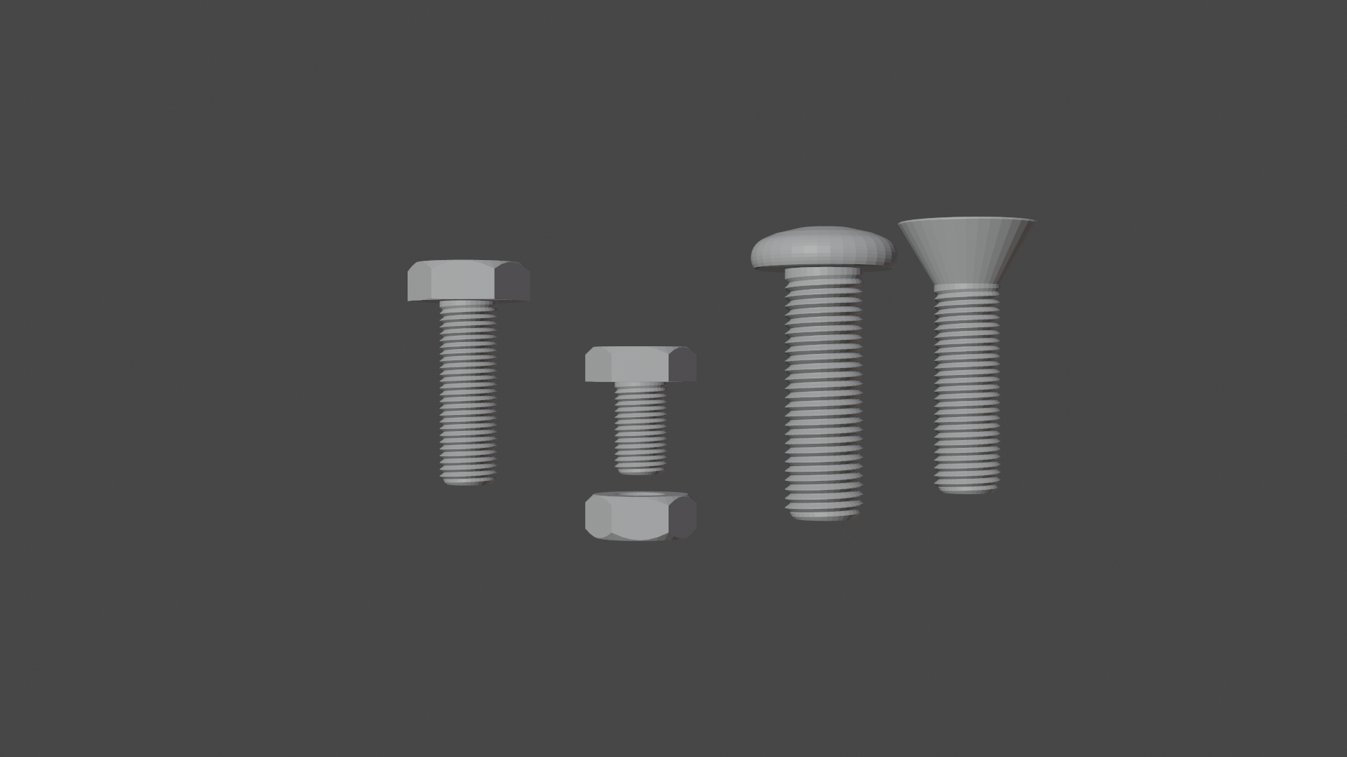 0001.png Download free STL file Bolts and nut • 3D print template, osayomipeters