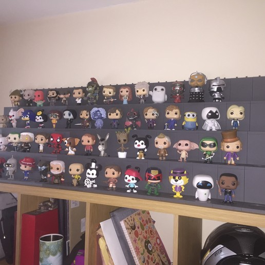 "Download free 3D printer templates Funko Pop Vinyl display stands ""End Caps""., Foggyeye"