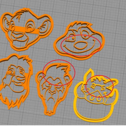 Download 3D printer designs The Lion king cookie cutter set, charlescdrr3