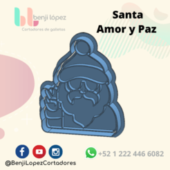 BenjiLopezCortadores (19).png Download STL file CHRISTMAS SANTA CLAUS LOCE AND PEACE COOKIE CUTTER • 3D printer design, BenjiLopezCortadores