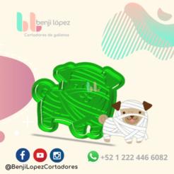 9.png Download STL file HALLOWEEN MUMMY DOG COOKIE CUTTER • 3D print object, BenjiLopezCortadores