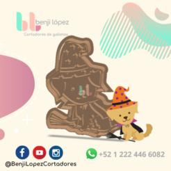 6.png Download STL file HALLOWEEN WITCH DOG COOKIE CUTTER - CORTADOR DE GALLETAS PERRO BRUJA • 3D printer design, BenjiLopezCortadores