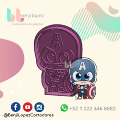25.png Download STL file Avenger Captain America Cookie Cutter • 3D printing design, BenjiLopezCortadores
