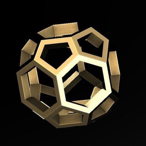 Download free 3D printing designs Trunkey創吉藝 Hexagon Sculpture 六角五角鏤空體, Trunkey