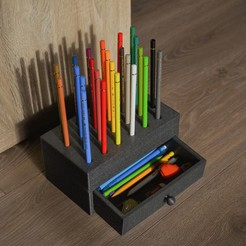 Download 3D printer designs Box with coloured pencil holder, Vic112