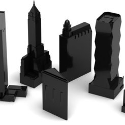 NYCBuildings_display_large_display_large.jpg Télécharger fichier STL gratuit Bâtiments minimalistes de la ville de New York • Design pour impression 3D, Jeyill3
