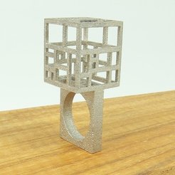 Free STL files Wearable Architecture-Mondrian Ring, AlbertKhan3D