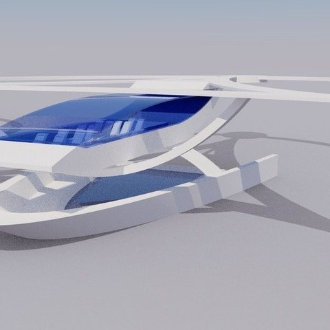 Download free 3D printing files Stingray Amphibious Tri-Copter Drone Model, AlbertKhan3D