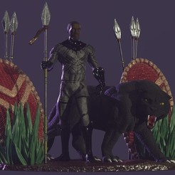 Download 3D printer files Black Panther Diorama, DB3DCollectible