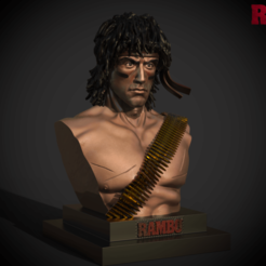 rambo bust.png Download STL file Rambo Bust  • 3D print object, DB3DCollectible