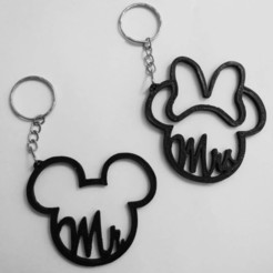 MickeyMinnie.jpg Download STL file Mickey Minnie mouse Keychains • Template to 3D print, iv8erazo