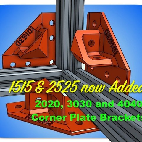 Download free 3D printer designs Extrusion Corner Plate Brackets for 1515, 2020, 2525, 3030, or 4040, idig3d
