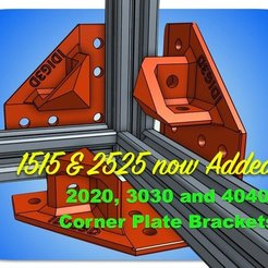 Free STL files Extrusion Corner Plate Brackets for 1515, 2020, 2525, 3030, or 4040, idig3d