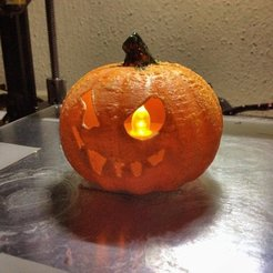 Download free 3D printer designs Scrappy Jack O' Lantern - fits $1 store LED tealight, idig3d