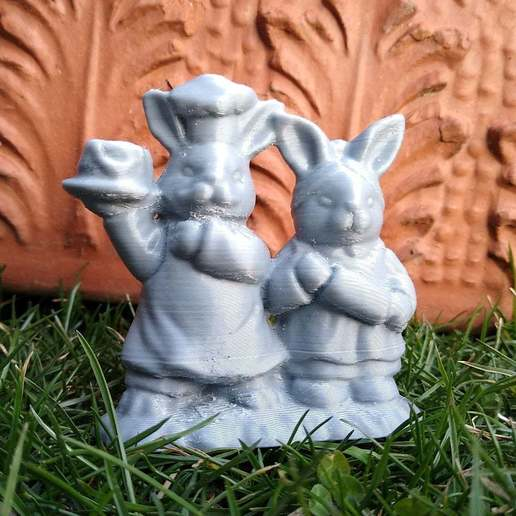 Download free STL file Easter Bunny Pair • 3D printer object, cristcost