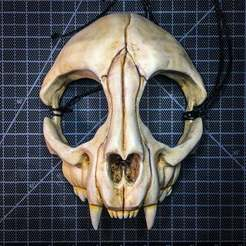 CatSkull.jpeg Download free STL file Cat Skull Mask • 3D printable model, UpInAtoms