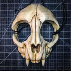 CatSkull.jpeg Télécharger fichier STL gratuit Masque de crâne de chat • Plan à imprimer en 3D, UpInAtoms