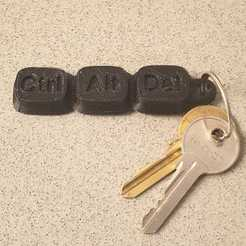 Free 3D printer designs CtrlAltDel key chain, EliGreen