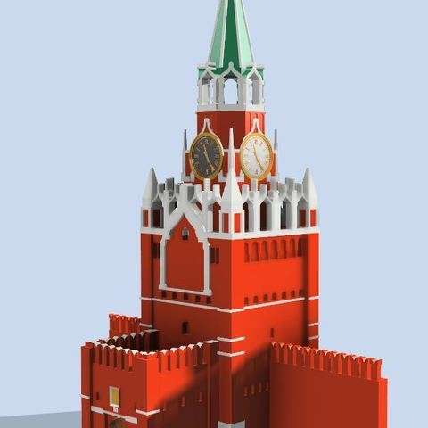 Free 3D printer files Kremlin Spasskaya Tower on Red Square, EliGreen