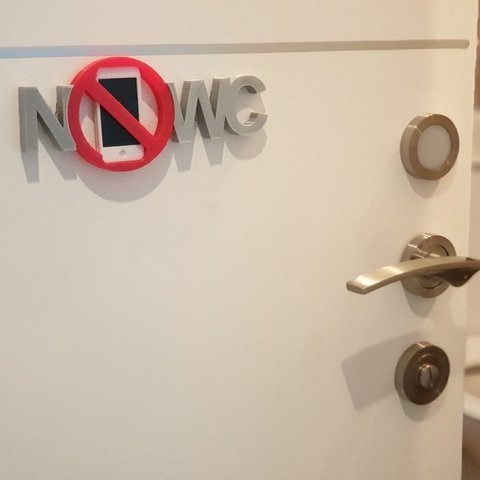 "Download free 3D printer designs Humor ""NO PHONE WC"" sign, EliGreen"