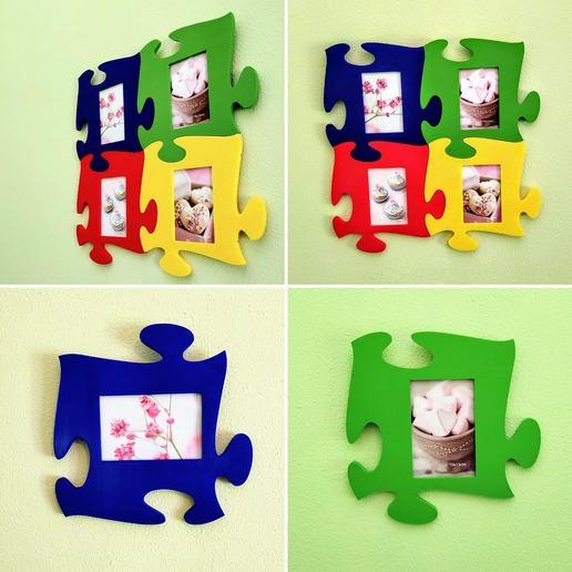 Download STL file Puzzle piece photo frame • 3D printer model, filaprim3d
