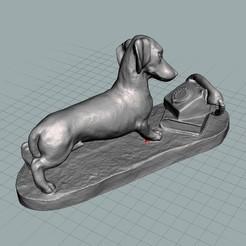 Télécharger plan imprimante 3D Teckel attendant que le téléphone sonne, bobp