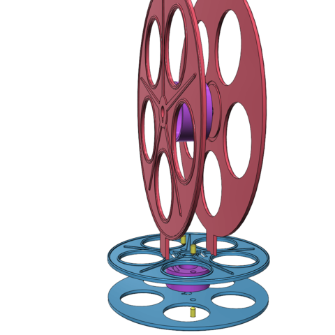 exploded.png Download free STL file Vintage film reel table decoration • 3D printable object, bobp