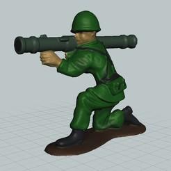 Diseños 3D Bazooka despidiendo a un soldado de juguete., bobp