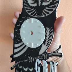 Download free 3D printing templates Owl wall clock, job_pachuca
