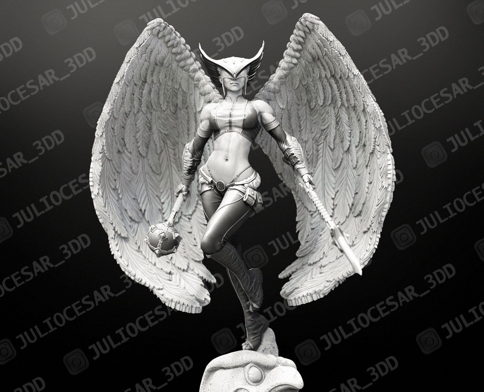 HawkGirl_miniaturaMA.jpg Download STL file HawkGirl • 3D printable template, JulioCesar_3DD