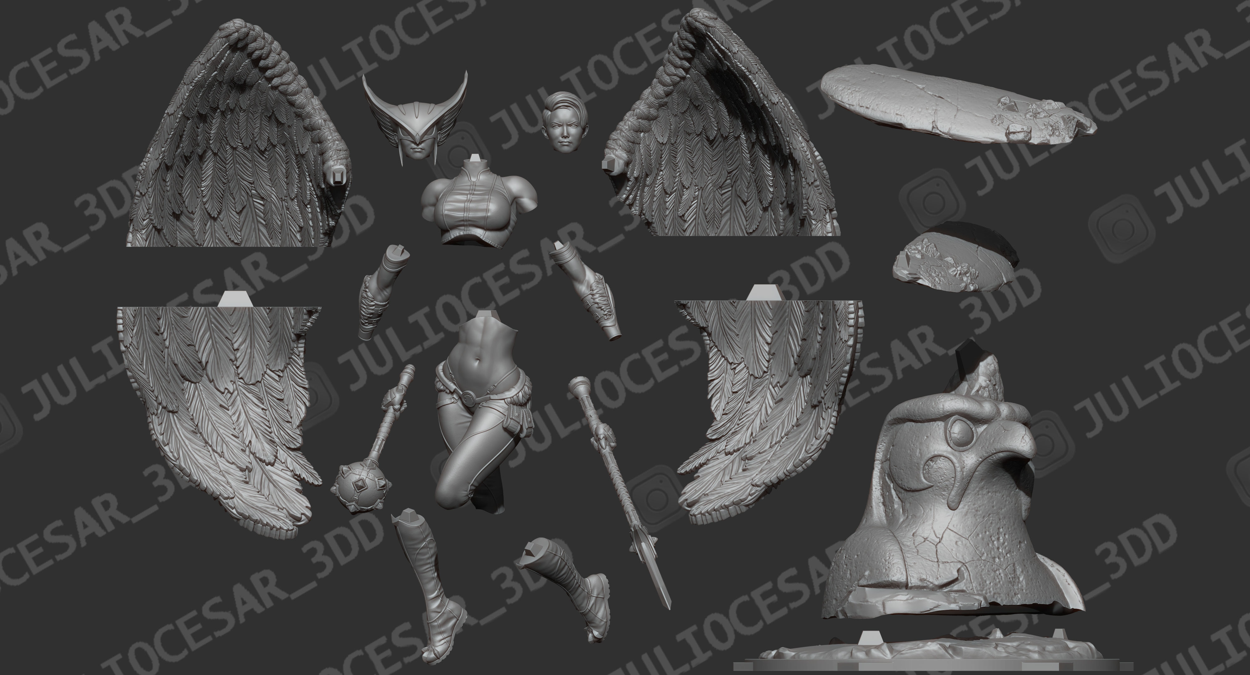 r4ma.jpg Download STL file HawkGirl • 3D printable template, JulioCesar_3DD