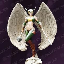 HawkGirl_r4MA.jpg Download STL file HawkGirl • 3D printable template, JulioCesar_3DD