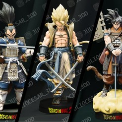 Download STL file Dragon ball Shogun - Pack 3 heroes, JulioCesar_3DD