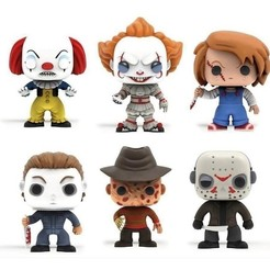 Télécharger STL gratuit halloween pack funko x6 it chucky freddy krueger krueger myers jason, shacomieron9
