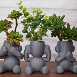 Monkey plant.JPG Download STL file  Wise monkeys pot • 3D printing object, Cwilliam