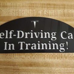 Download free 3D printer designs Tesla Self-Driving Car in Training Sign, ibgeek