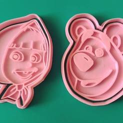 Download 3D printing files MASHA AND THE BEAR COOKIE CUTTERS KIT X2 SET, KDASH