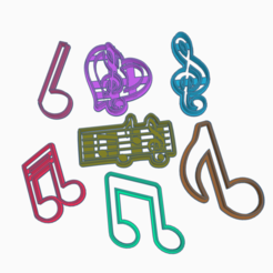 3D print model MUSICAL NOTES X7 COOKIES CUTTERS, KDASH
