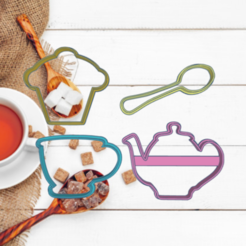 Glorious Blad.png Download STL file TEAPOT,CUP,SPOON,MUFFIN COOKIE CUTTER X4 KIT • 3D print template, KDASH