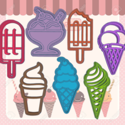 Download STL ICE CREAM KIT X7 COOKIE CUTTER, KDASH