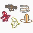 Download 3D printer files CURIOUS GEORGE KIT X5 COOKIE CUTTERS, KDASH