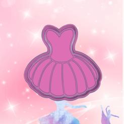 Surprising Sango.png Download STL file BALLET DRESS COOKIE CUTTER • 3D print template, KDASH