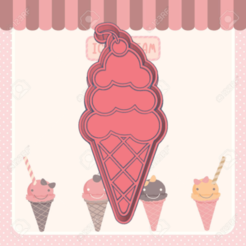 helado cereza.png Download STL file ICE CREAM COOKIE CUTTER • 3D printable object, KDASH