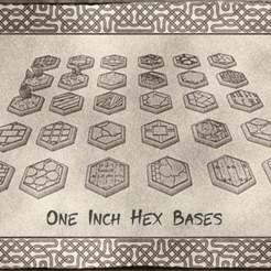 01.jpg Download free STL file 1 Inch Hexagonal Bases (x30) for Dungeons & Dragons or Warhammer tabletop Miniatures • 3D printable model, KaerRune