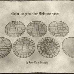 Download STL file 60mm Dungeon Floor Miniature Bases (x7) For Dungeons & Dragons and Other Tabletop Games • Design to 3D print, KaerRune