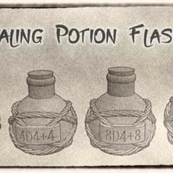 Potions-01.jpg Download STL file Healing Potion Bottles For Dungeons & Dragons or Other Fantasy Tabletop Games • 3D print design, KaerRune