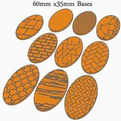 60x35a.jpg Download free STL file 60x35mm Oval Bases (x18) for Dungeons & Dragons or Wahammer 40k tabletop Miniatures • Template to 3D print, KaerRune
