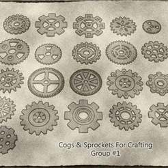 01.jpg Download STL file Cogs, Gears and Sprockets Group 1 [21 different styles and sizes] for Crafting Steampunk ,Mechanical ,Warhammer 40k theme terrain • 3D printable template, KaerRune